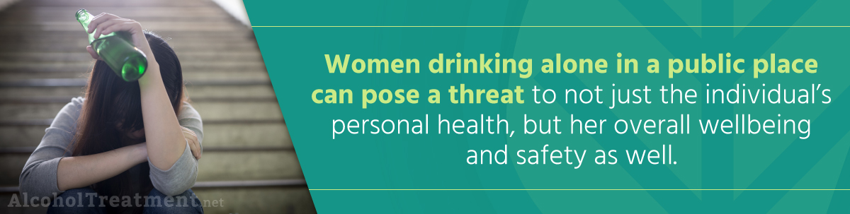 Drinking Alone- Is It Bad_ - Early Warning Signs of Alcoholism Women Drinking Alone In A Public Place
